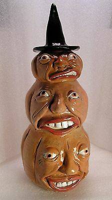 A Bawdy BUNCH OF PUMPKINS Traditional Stacked Face Jug