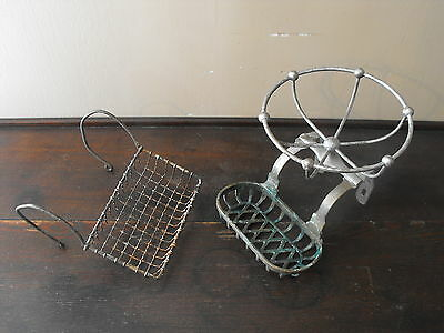 OLD VTG ANTIQUE BRASS WIRE CLAW FOOT TUB BATHROOM PARTS REPAIR SOAP DISH LOT