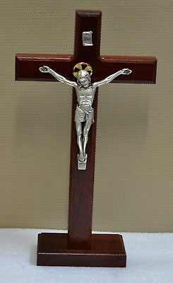 Standing Beechwood Crucifix, Metal Corpus, 290mm x 165mm, Made in Italy