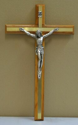 Olive Wood Wall Crucifix, Metal Inlay & Corpus, 300 x 180mm, Made in Italy