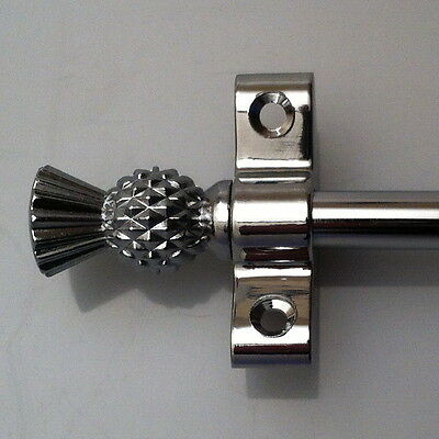 Polished Chrome 3/8 Inch Stair Carpet Rod Thistle Finial (R03T)