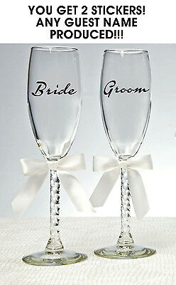 2x PERSONALISED BRIDE AND GROOM WEDDING GLASS NAME STICKERS WINE GLASSES
