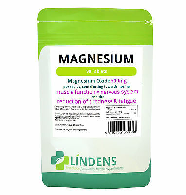 Magnesium 500 mg 90 Tablets One-a-Day Muscle Pain Recovery Nerve Function Vegan