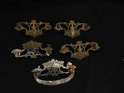 "5 East Lake Victorian Back Plate Drawer Handles Pulls Ornate Brass 3"" Bore"