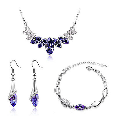 Purple & Silver Crystal Jewellery Set Drop Earrings Bracelet & Necklace S672