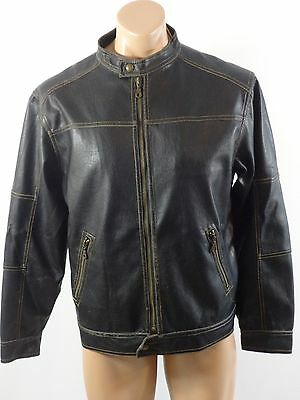 Px Genuine Mens Black Faux Leather Jacket Size S Really Nice!