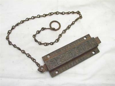 Early Cast Iron Victorian Eastlake Door Top Latch Dead Bolt Lock Spring +Chain H
