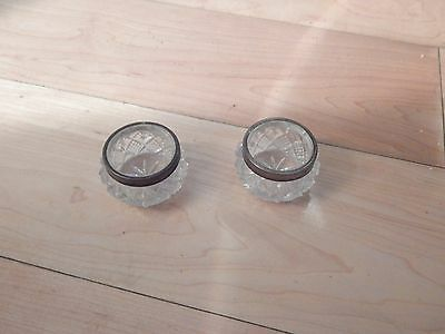 Two Antique Cut Glass Salts with sterling rims