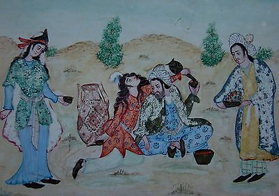 ANTIQUE PAIR MIDDLE EAST DRAWING PAINTINGS ISLAMIC NOMAD SUFI MIDDLE EAST INDIAN