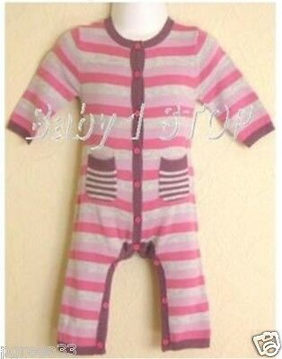 Baby Girls Stripe Cotton Romper Suit All In One 0-3 Mth