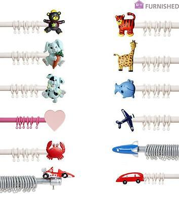 Kids Children Metal Curtain Pole Extendable to 1.8m Max Boys & Girls