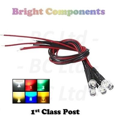 Pre-Wired LEDs 3mm/5mm Flat Top Wide Angle : 9V ~ 12V : Various Colours Prewired