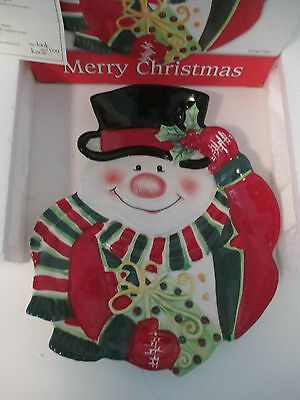 Fitz & Floyd Merry Christmas Snowman Top Hat Scarf Ceramic Canape Plate 2006