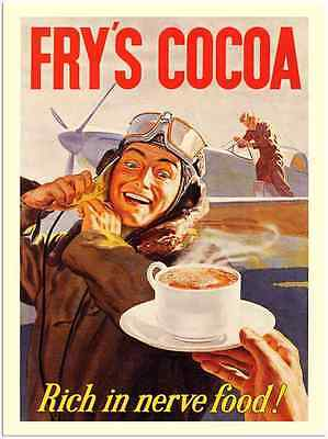 Metal Sign 1645 Frys Cocoa Airforce War Poster 1 1940S A3 16x12 Aluminium