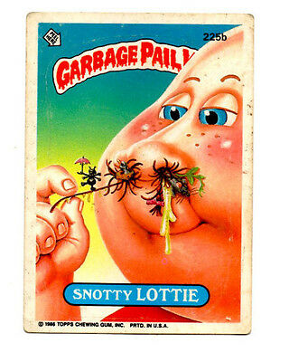 "1986 Topps Garbage Pail Kids card # 225b ""Snotty Lottie"""