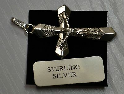 Sterling Silver Crucifix 30 x 20mm, Clear Boxed, Hallmarked 925 Silver