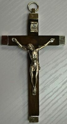Wall Crucifix Metal Backed Brown Wood Cross Metal Corpus 110 x 65mm