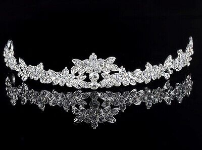 Headband Silver Wedding Bridal Crown Bridesmaid Prom Crystal Rhinestone Tiara