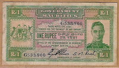 1940 Nd Kgvi Government Of Mauritius One Rupee Note *ex. Scarce*