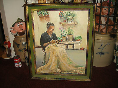 Superb Carol Lynn Oil Painting On Canvas-Old Woman Knitting-Flower Pots Behind