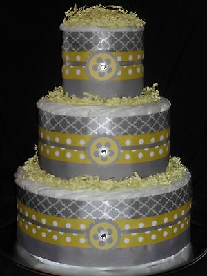 Yellow and Gray  Diapercake