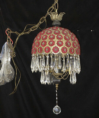 1of2 Ruby Jeweled Filigree Hanging hollywood SWAG Lamp Brass Vintage Chandelier