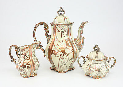 3pc Hertel Jacob Bavaria Germany Silver on Copper Porcelain Footed Coffee Pot