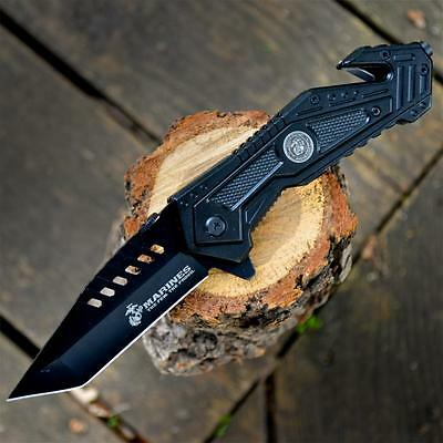 OFFICIALLY LICENSED US Marines USMC Spring Assisted Open RESCUE FOLDING KNIFE