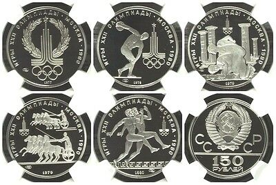 USSR Russia 1977-1980 Set 5 Platinum 150 Roubles Moscow Olympics NGC PF69 Rare