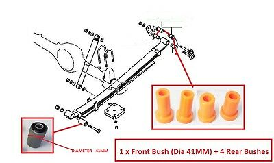 Mitsubishi L200 Kb40 2.5Di-D 06-14 Rear Leaf Spring Suspension Bush Set (1 Side)