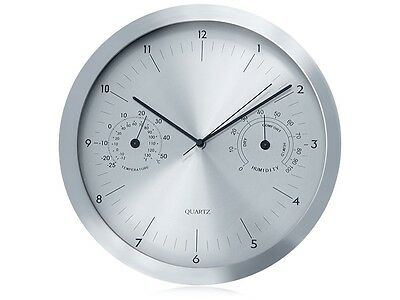 """Wall Clock Weather Station Silver 14"""" Humidity Tempearture Modern Quartz UK"""