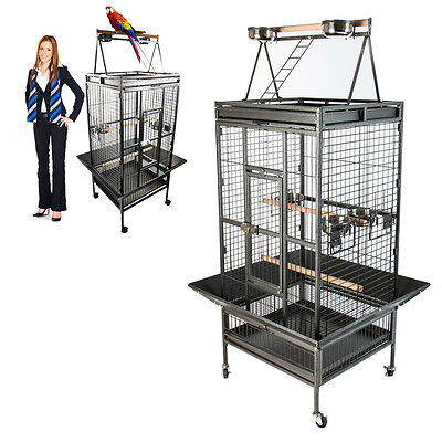 Large Black Parrot Bird Cockatiel Parakeet Finch Cage Playtop Gym Perch Stand