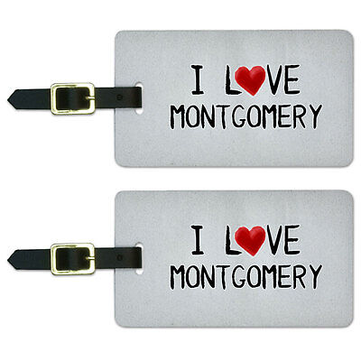 I Love Montgomery Written on Paper Luggage Suitcase Carry-On ID Tags Set of 2