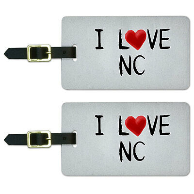 I Love NC Written on Paper Luggage Suitcase Carry-On ID Tags Set of 2