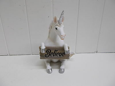 HD38178 JUST BELIEVE UNICORN WITH SIGN DECORATION STATUE FIGURINE DWK FANTASY