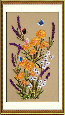 3D Ribbon Yarn Hand Embroidery Kit Butterfly Lavender Yellow Flowers 45*70cm New