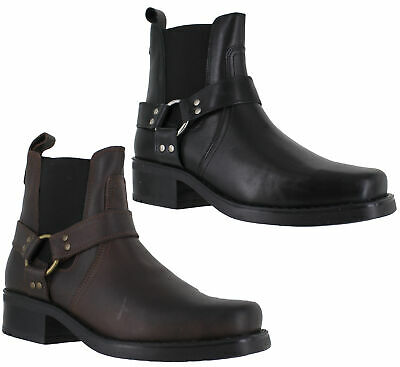 Mens Gringos Harley Leather Biker Cowboy Western Ankle Boots UK Sizes 7 to 12