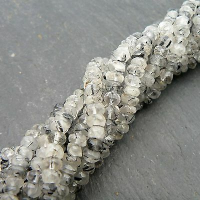 "Black Rutile Quartz Faceted Rondelle Beads 15"" Strand Semi Precious Gemstone"