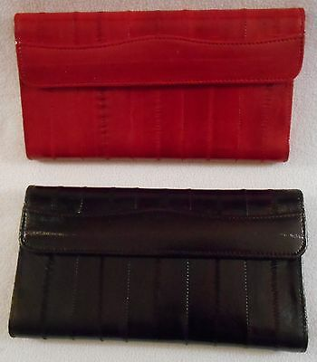 Genuine EEL SKIN Woman's Bifold Wallet with Fan Zipper Pocket & Pen Holder