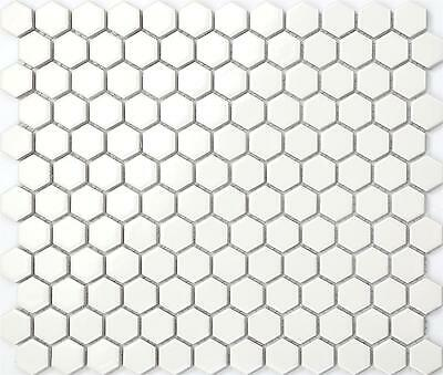 Ceramic Mosaic Wall & Floor Tiles White Hexagonal Gloss Bathroom Basin MT0089