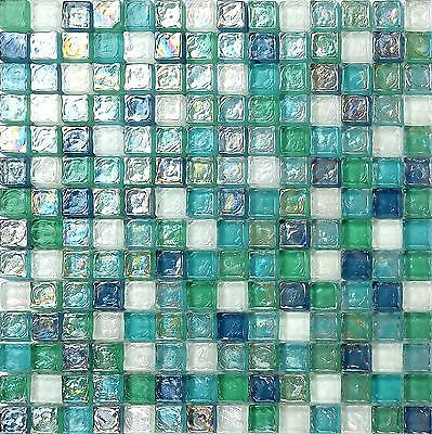 Green Blue & White Hammered Swirl Glass Mosaic Tiles Sheet 300x300x8mm (MT0052)