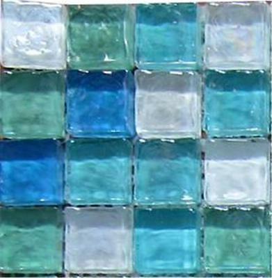 Green Blue & White Hammered Swirl Glass Mosaic Tiles SAMPLE 100x100x8mm (MT0052)