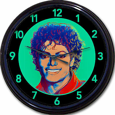 MICHAEL JACKSON - ANDY WARHOL STYLE - RETRO ART PORTRAIT WALL CLOCK FUN NEW