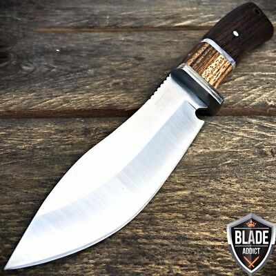 "10"" Outdoor Stainless Steel Survival Skinning Hunting Knife Wood Handle Bowie"