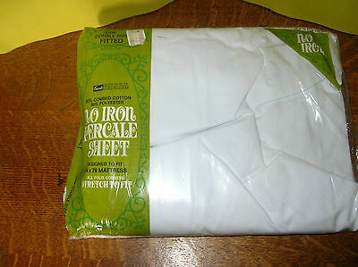 Vintage NOS Grants Home No Iron Percale Double Fitted Sheet-White
