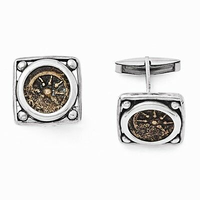 Antiqued Coin Cuff Links .925 Sterling Silver & Bronze Ancient Coins Widows Mite