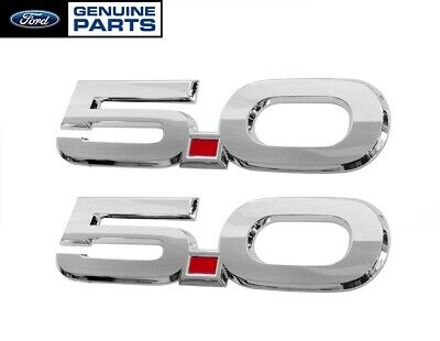 "2015-2017 Mustang GT Genuine Ford OEM 5.0 Chrome 5.5"" Fender Side Emblems Pair"