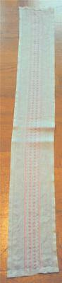Swedish hand-embroidered very light gray linen runner with pink & white pattern