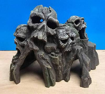 Aquarium Ornament Skull Mountain Head Tunnel Cave Fish Tank Decoration New