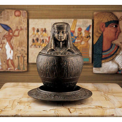 1920 Style Egyptian Revival Cast Iron Antique Replica Canopic Jar & Ritual Plate